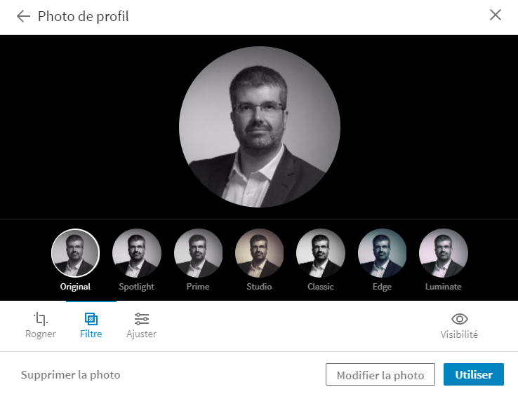 Filtres photo de profil Linkedin