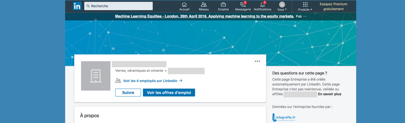 page entreprise sur linkedin